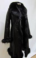Зимнее кожаное пальто на подстежке