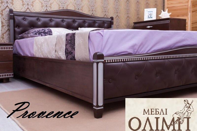 Двуспальная кровать «Прованс» с патиной и фрезеровкой мягкая спинка ромбы с подъемной рамой
