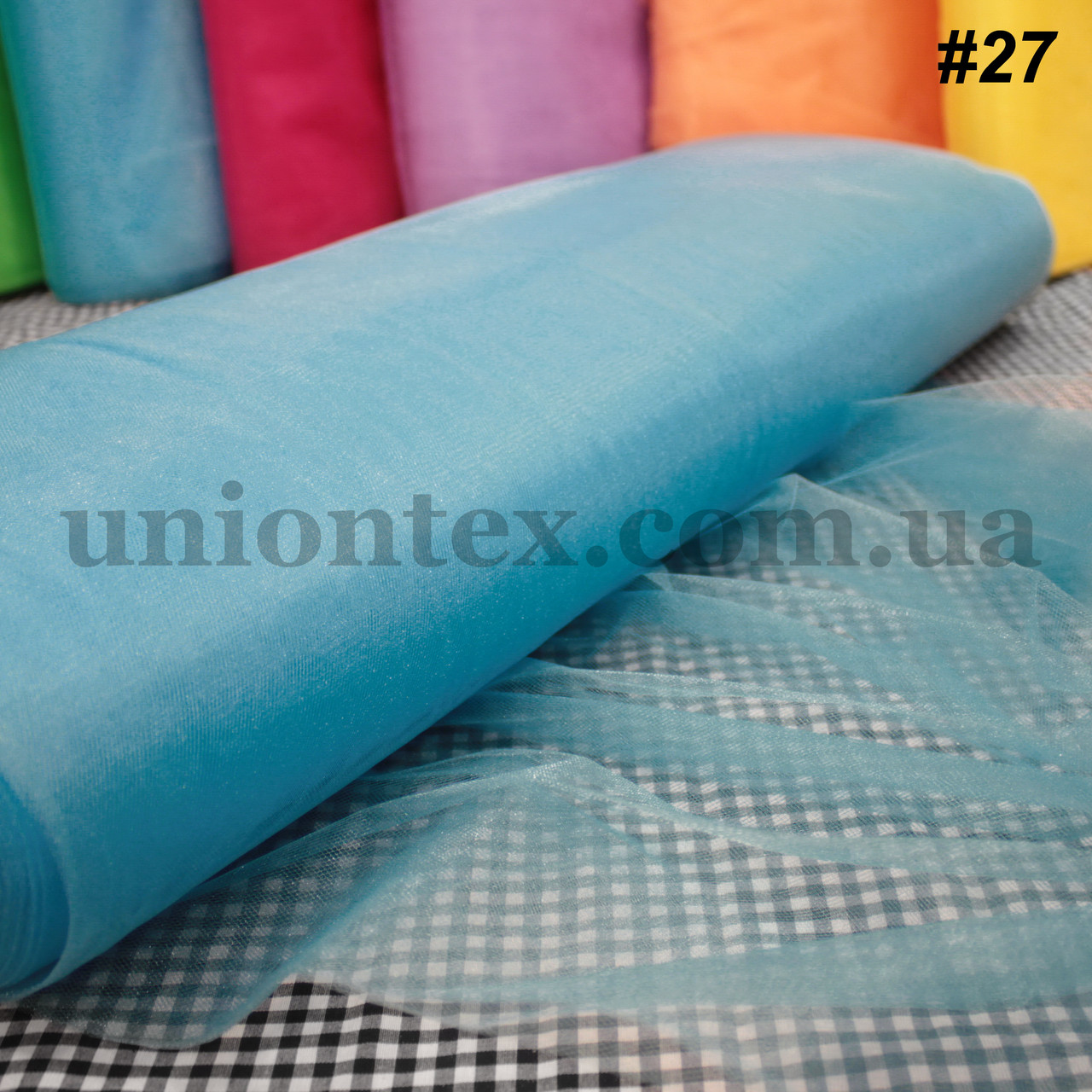Фатин средней жесткости Kristal tul голубая бирюза, ширина 3м