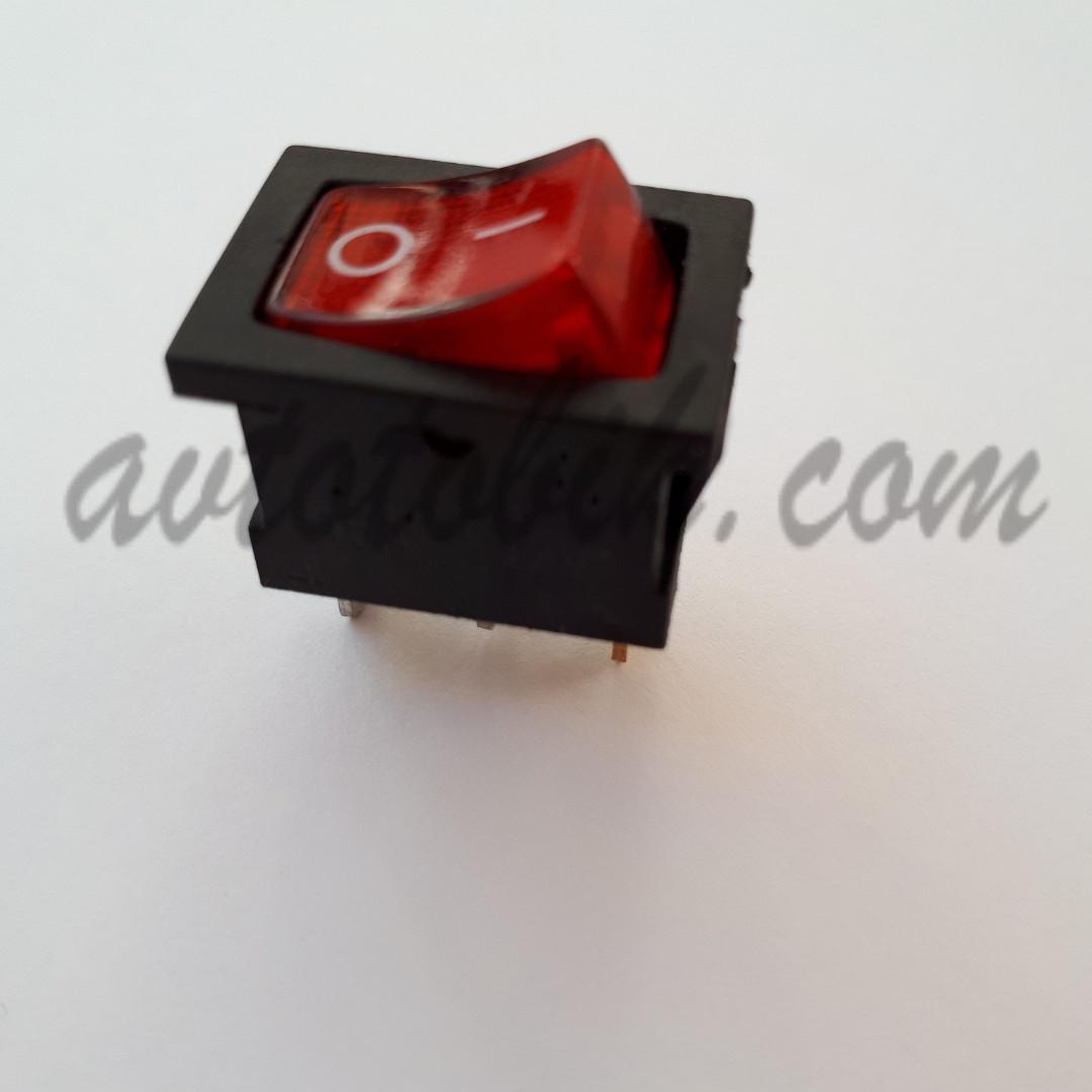 Вимикач кнопковий малий з підсвічуванням червоний