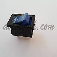 Выключатель кнопочный малый с подсветкой синий, фото 1