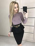 Женское стильное двухцветное платье с баской, фото 1