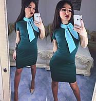 Женское офисное платье-футляр с галстуком, фото 1