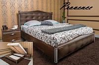 Двуспальная кровать «Прованс» с патиной и фрезеровкой мягкая спинка квадраты с подъемной рамой