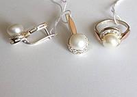 Серебряный комплект  с золотом Лунный жемчуг  , фото 1
