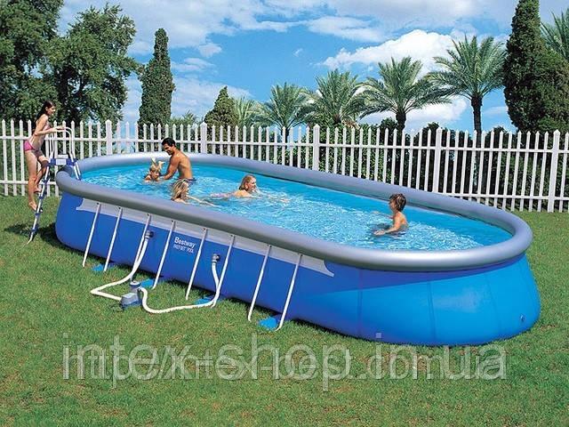 Каркасно-надувной овальный бассейн Oval Fast-Set Bestway 56164, 853х366х122 см