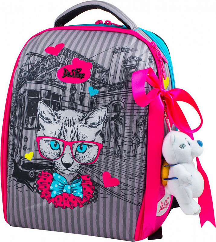 35737541bd00 Ранец школьный DeLune 7-142 + мешок + мишка рюкзак детский ортопедический  для девочек фабричный