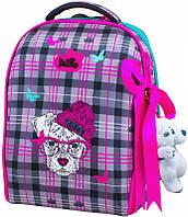 Ранец школьный DeLune 7-143 + мешок + мишка рюкзак детский ортопедический для девочек фабричный