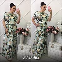 Женское длинное шелковое платье, в расцветках, р-р 50-54 (МБ-7-0418)