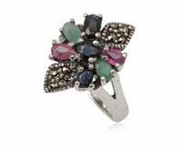 Серебряное кольцо Винтаж с натуральными изумрудом, рубином сапфиром