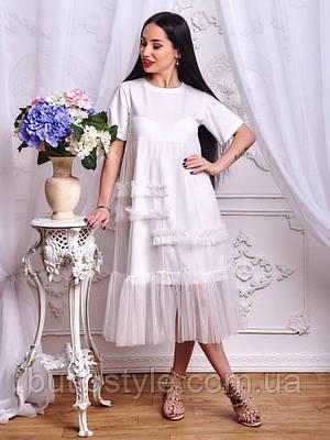 5a8e945458e Стильное женское платье миди с оборками и рюшами только белое ...
