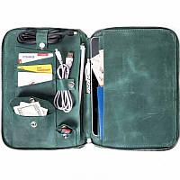 Мужская кожаная сумка - органайзер для планшета Spitch - Green, фото 1