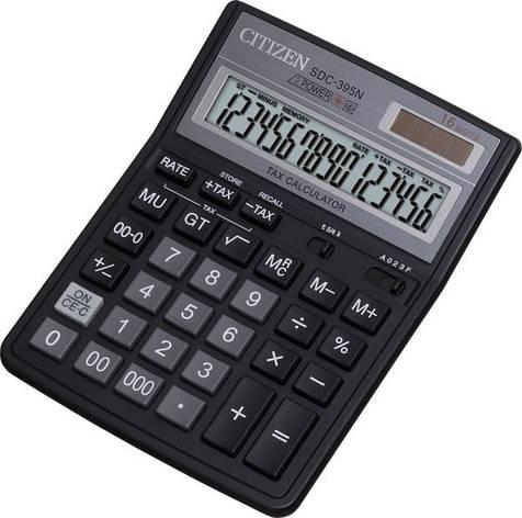 Калькулятор Citizen SDC-395N бухгалтерский 16р., фото 2