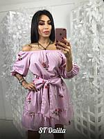 Женское платье свободного силуэта из хлопка, в расцветках (МБ-9-0418)