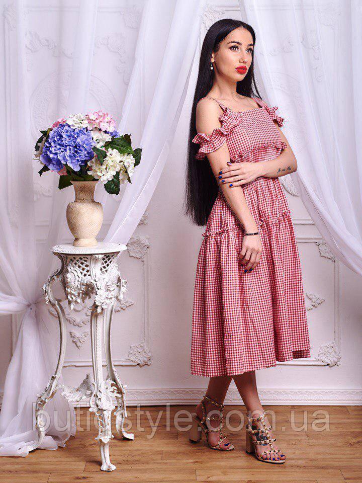 Модное женкское платье в клетку красное, синее, черное