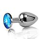 Средняя анальная пробка,плаг с синим кристаллом + чехол. 8*3.4 см. Синяя, фото 7