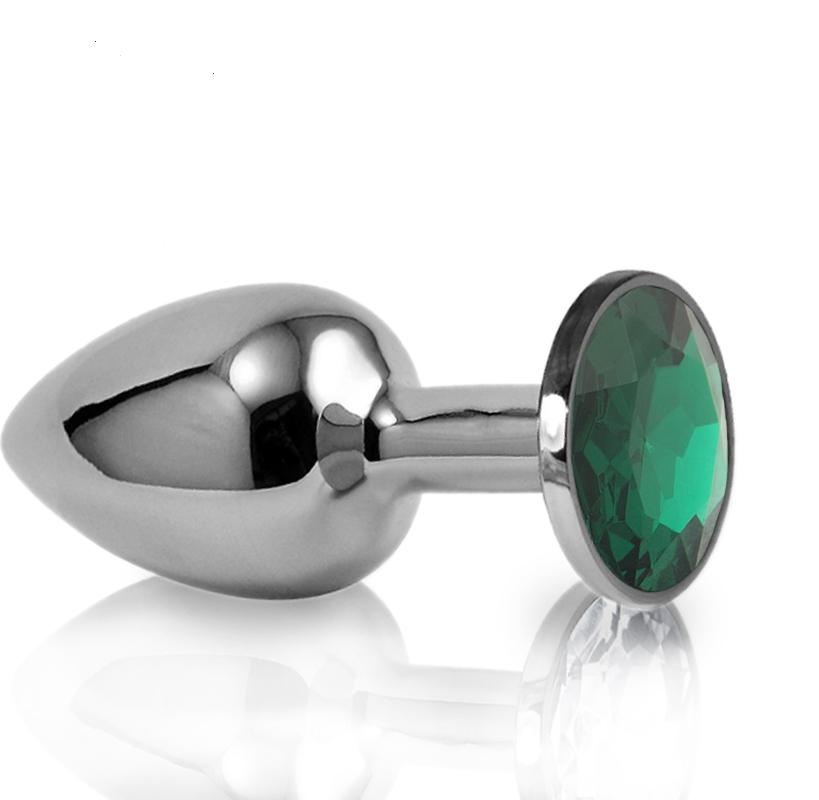Средняя анальная пробка,втулка с зеленым кристаллом + чехол. 8*3.4 см. Зеленая