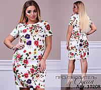 Яркое летнее платье креп цветочный принт Размеры 50 52 54 56