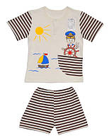 Летний комплект на мальчика Кораблик (шорты и футболка)  80, 86, 98 см