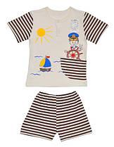 Летний комплект на мальчика Кораблик (шорты и футболка)  80 см