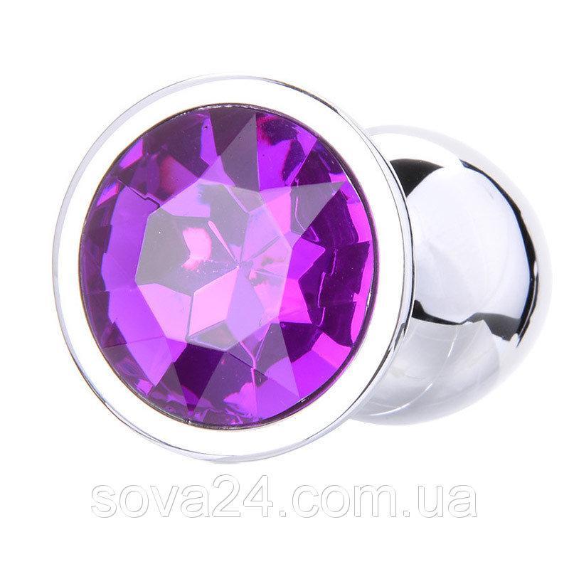 Маленькая анальная втулка с фиолетовым стразом + чехол. Малиновая.