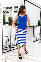 Костюм летний женский синий модель 27011359