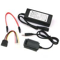 Адаптер USB — SATA/IDE (2.5 — 3.5 HDD; DVD; CD) полный комплект с кабелями и внешним блоком питания, фото 1