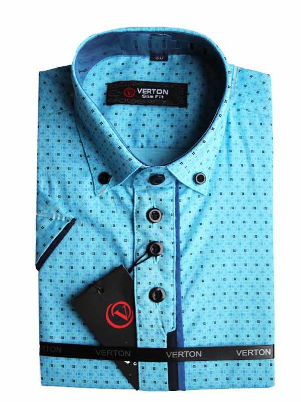 Рубашка для мальчика Verton с коротким рукавом васильковая