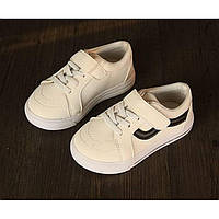 Кроссовки детские PU-замша на липучках белые Размер: 30