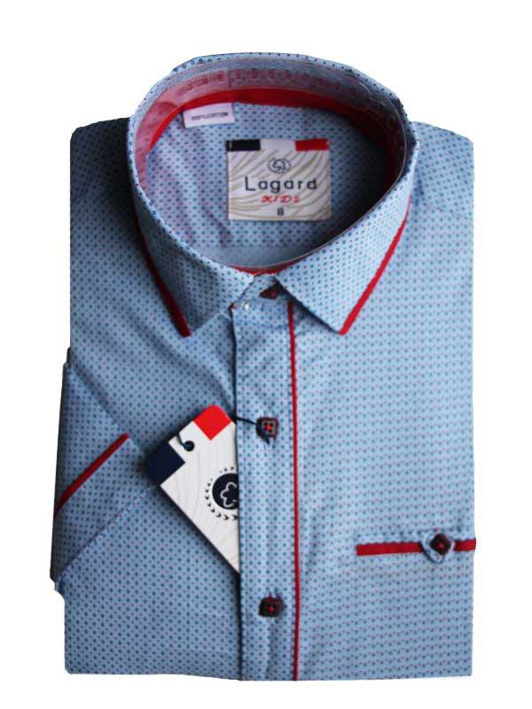 Рубашка для мальчика с коротким рукавом приталенная голубая