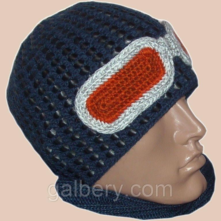 Мужская вязаная шапка на подкладке с бортиком c элементами кожи синего цвета