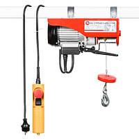 Лебедка электрическая (тельфер) 220/230В, 500Вт, 125/250 кг, трос 3.0мм*12м Intertool GT1481