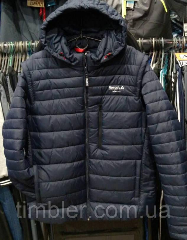Мужская спортивная куртка Reebok трансформер с отстегивающимися рукавами  копия - Алуника - интернет магазин товаров для 1354d6d77b7