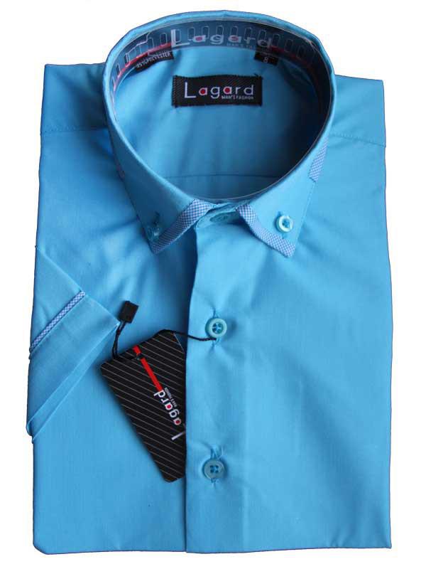 Рубашка для мальчика васильковая приталенная короткий рукав Lagard