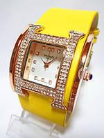 Часы женские HERMES копия Paris желтые со стразами, часы наручные женские модные