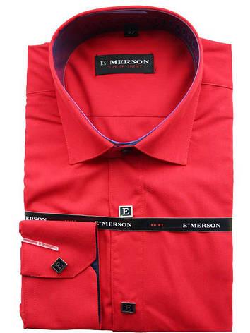 Рубашка для мальчика подростковая приталенная красная длинный рукав Emerson, фото 2