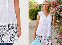 Нарядная белая блузка, пляжное платье, туника из хлопка с кружевом.