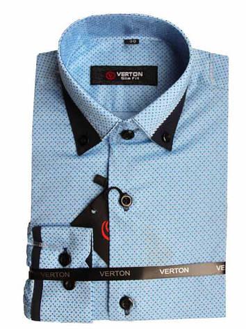 Рубашка для мальчика приталенная голубая с синей отделкой длинный рукав Verton, фото 2