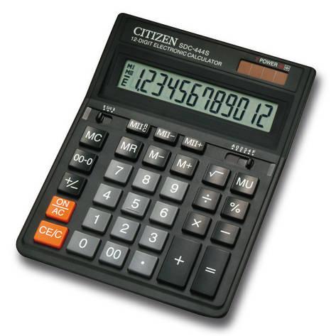 Калькулятор Citizen SDC-444S бухгалтерский 12р, фото 2