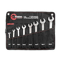 Набор рожковых ключей 8шт. 6-22мм Cr-V, покрытие сатин-хром; PROF DIN3110 Intertool XT-1102
