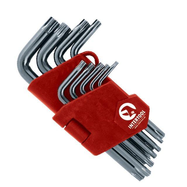 Набор ключей TORX Г-образных с отверстием 9 шт. Т10-Т50 INTERTOOL HT-1831