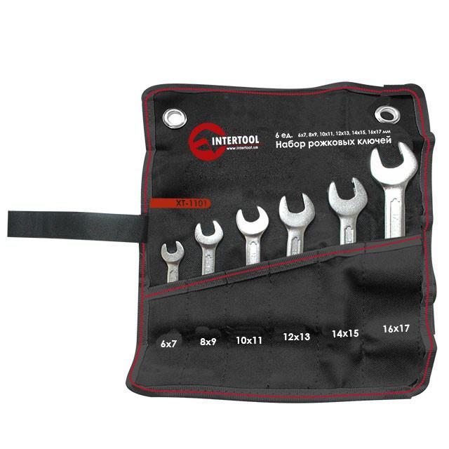 Набор рожковых ключей 6шт. 6-17мм Cr-V, покрытие сатин-хром; PROF DIN3
