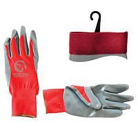Перчатка красная вязанная синтетическая, покрытая серым нитрилом на ладони 10 Intertool SP-0124