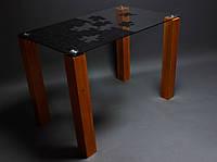Стол для кухни стеклянный Пазл
