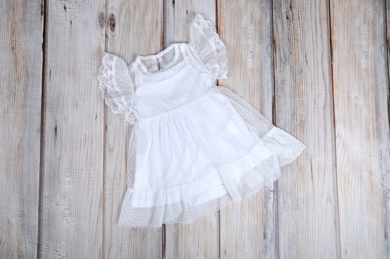 Фатиновое платье с боди, Белое