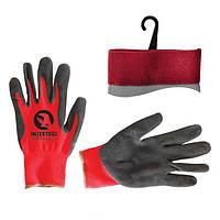 Перчатка красная вязанная синтетическая, покрытая серым пористым нитрилом на ладони 10 Intertool SP-