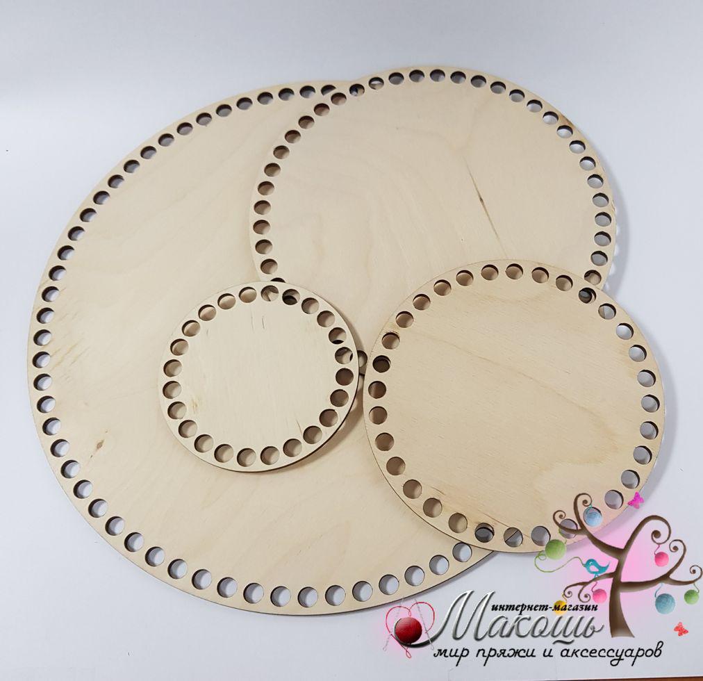 Круглое донышко для вязанных корзин, диаметр 30 см