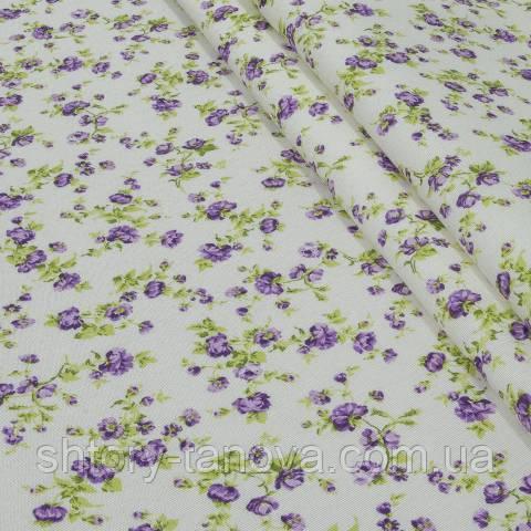 Декоративная ткань для штор, мелкие цветы, фиолетовый