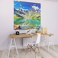 Римская штора Джуси велюр  с фотопечатью Озеро у горы 1500*1700 делаем любой размер
