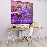 Римская штора Джуси велюр с фотопечатью Сиреневый букет 1500*1700 делаем любой размер